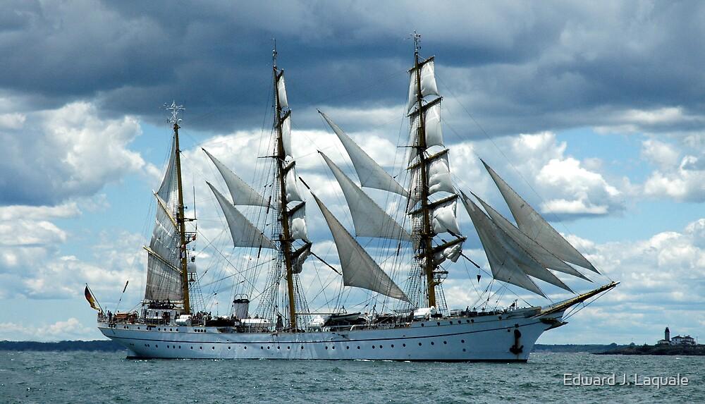 EAST GERMAN, TALL SHIP ---  NEWPORT, RHODE ISLAND by Edward J. Laquale