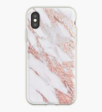 Blush pink rose gold marble iPhone Case