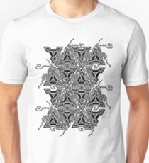 Geometric optical illusion vibration design.Triangles black and white colors seamless pattern. Trendy contempirary fashion style. Unisex T-Shirt