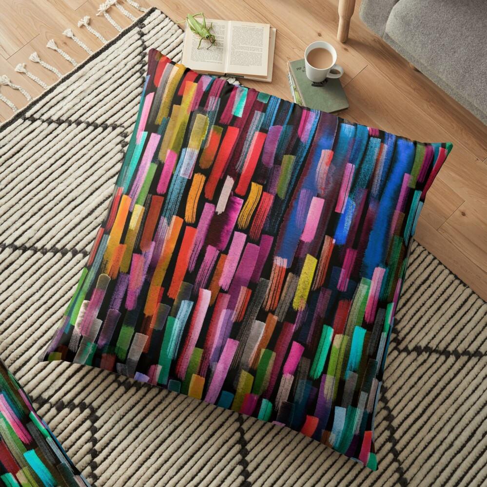 Multicolored watercolor stripes pattern Floor Pillow