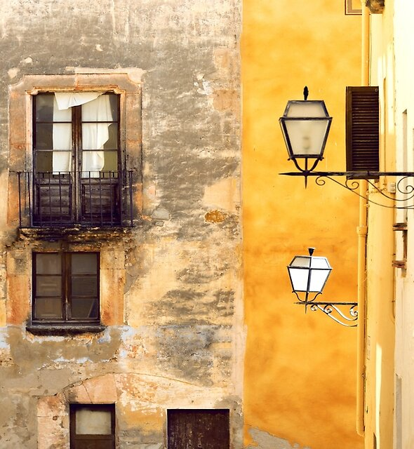 Yellow and Old Wall by Svetlana Sewell