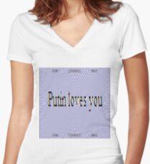 Putin Loves You Fitted V-Neck T-Shirt