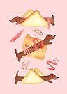 Sausage Dogs in Bread - NEW - Pink by makemerriness