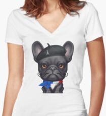 From Paris with Woof! Women's Fitted V-Neck T-Shirt