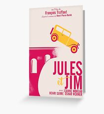 Jules et Jim, minimalist movie poster for  François Truffaut film with Jeanne Moreau (french new wave cinema) Greeting Card