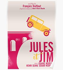 Jules et Jim, minimalist movie poster for  François Truffaut film with Jeanne Moreau (french new wave cinema) Poster