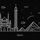 Cairo Skyline Minimal Line Art Poster by A Deniz Akerman
