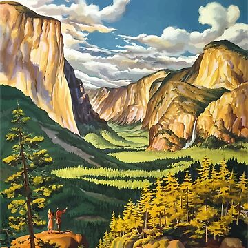 Vintage Travel Poster Yosemite National Park by G-Design