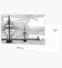196 - TALL SHIPS LEAVING THE TYNE - DAVE EDWARDS - PEN & INK - 1993 Postcards