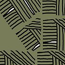 Line pattern black and olive green by HEVIFineart