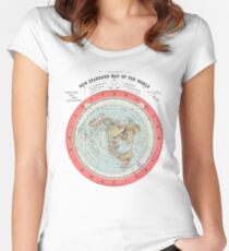 Flat Earth Society World Map Women's Fitted Scoop T-Shirt