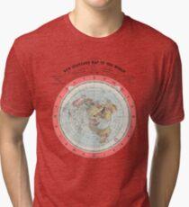 Flat Earth Society World Map Tri-blend T-Shirt