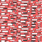 Retro coral gray white geometric pattern   by HEVIFineart