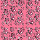 Vintage Butterfly pattern on pink background by HEVIFineart