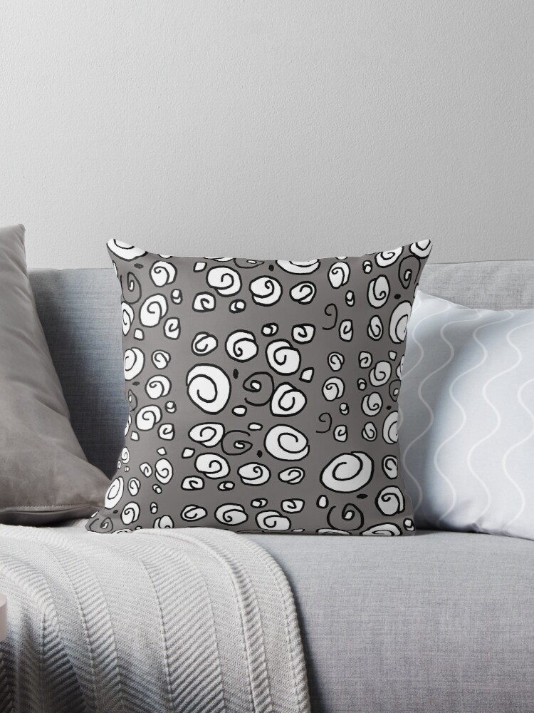Swirl gray black and white pattern by HEVIFineart
