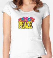Retro 60's 70's Hippie Peace Typography Flowers Symbol Women's Fitted Scoop T-Shirt