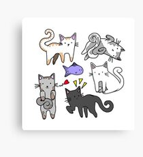 Cute kawaii japanese cartoon cats  Canvas Print