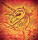 Flame The Unicorn Watching The Spirit Cows Passing Through Her Fire by SpiritCow