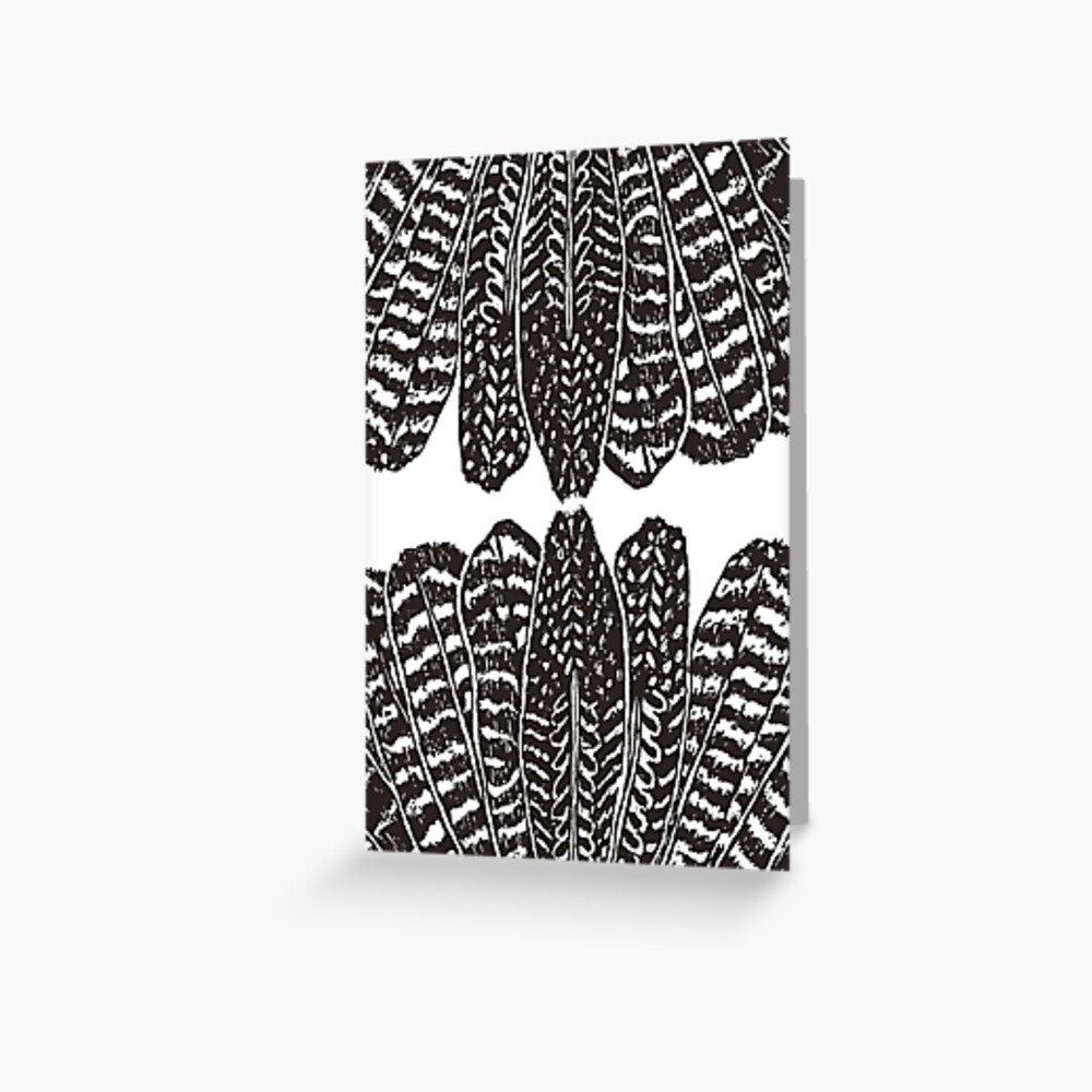 Tribal Feathers Black Greeting Card
