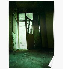 Open door in a derelict building Poster