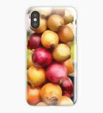 Decorative onions hanging on a string on a farmers market iPhone Case