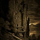 A Dark and Scary view of a Run-Down Castle in France 19th century by Dennis Melling