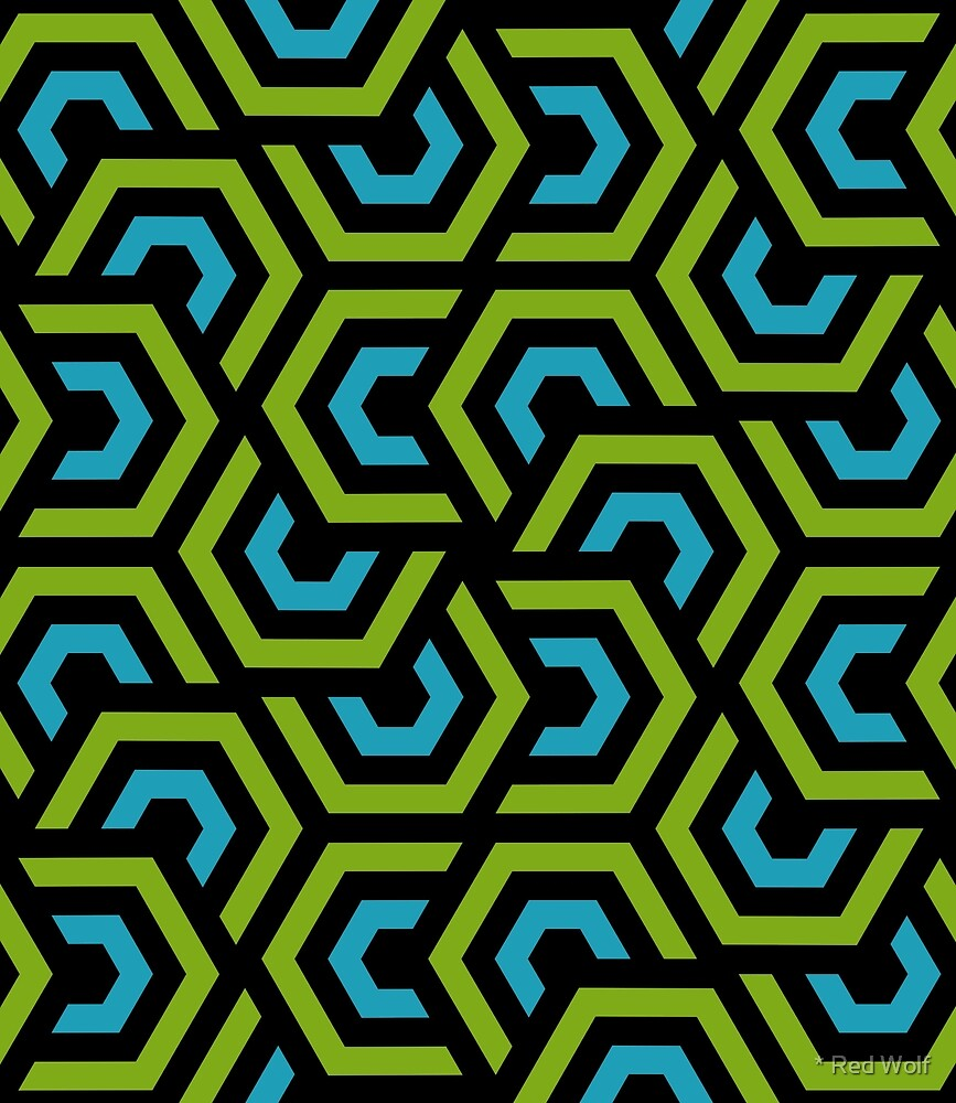 Geometric Pattern: Layered Hexagon: Green by * Red Wolf