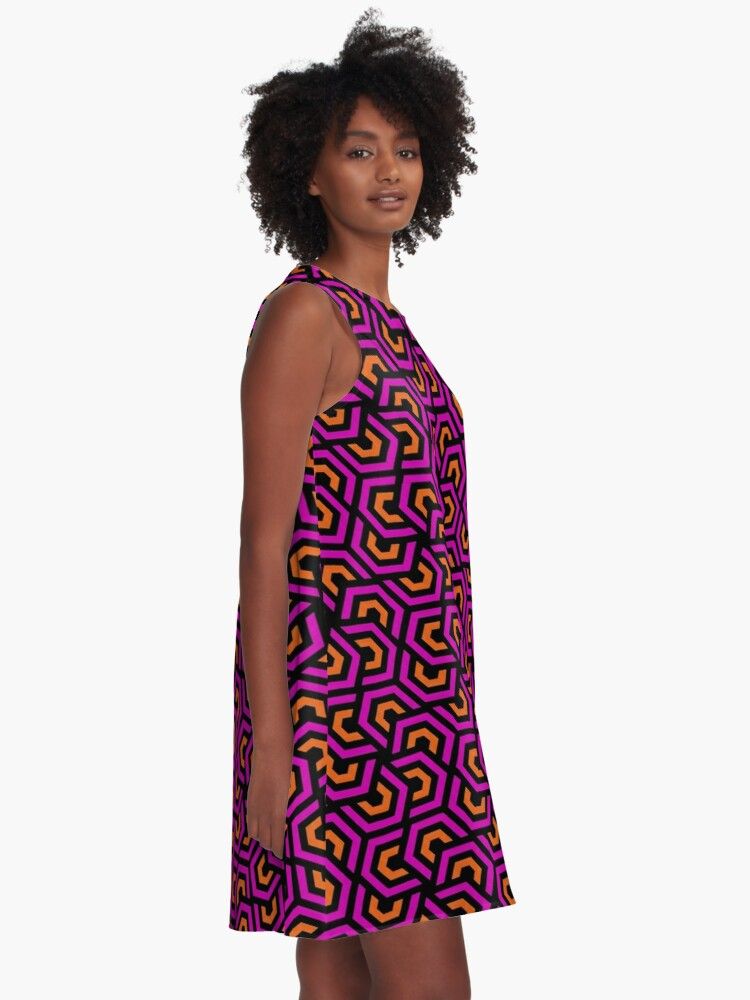 Alternate view of Geometric Pattern: Layered Hexagon: Pink A-Line Dress