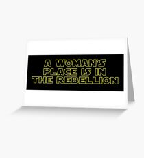 Rebellious Women (yellow, outline) Greeting Card