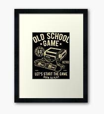Old School Game Videogame Gaming Retro Vintage Framed Print