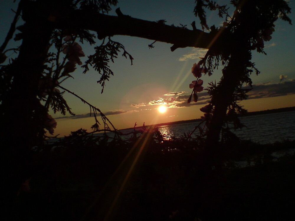 Self-made picture framed sunset by the rock beach by 13radley