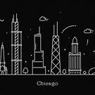 Chicago Skyline Minimal Line Art Poster by A Deniz Akerman