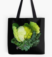 Cabbage and Kale on Black Tote Bag