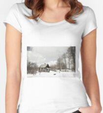 dilapidated wooden house cottage in winter  Women's Fitted Scoop T-Shirt