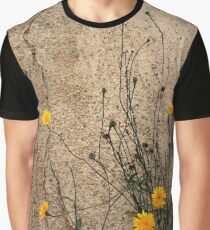 Gruge wall with yellow daisies Graphic T-Shirt