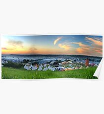 Glastonbury Festival at Sunset Panorama with Tipis Poster