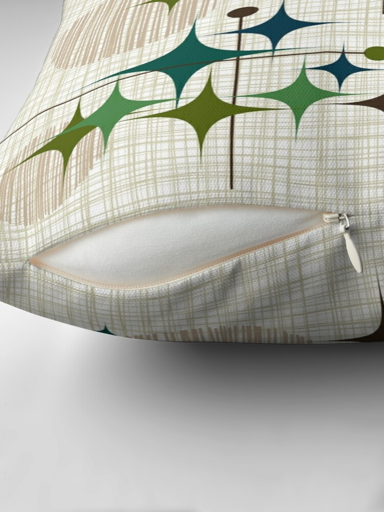Alternate view of Eames Era Starbursts and Globes 1 (bkgrnd) Throw Pillow