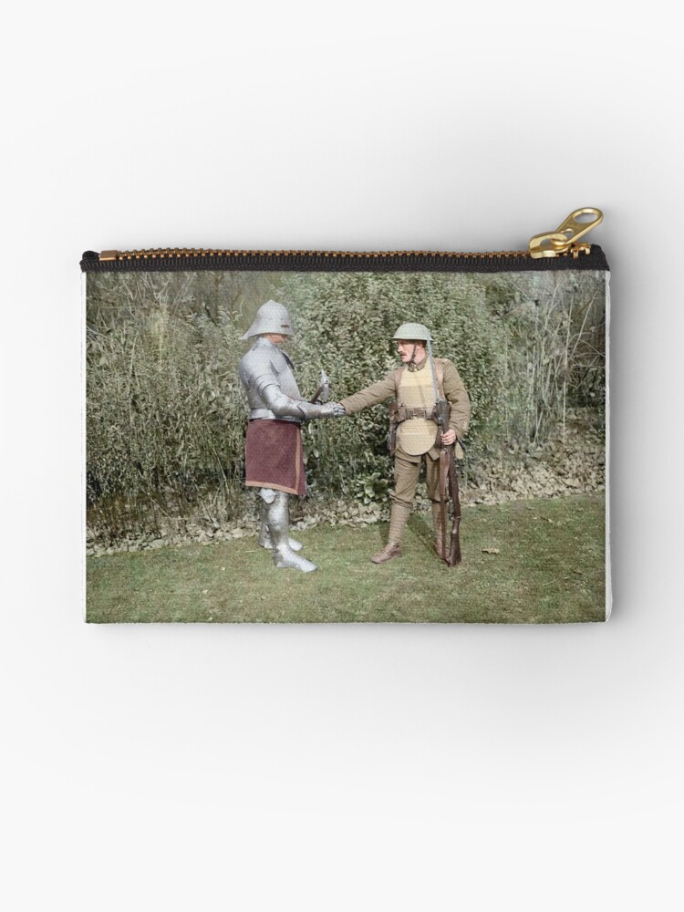 British WWI soldier meets medieval fella, 1917 by Cassowary Colorizations