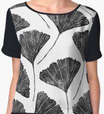 Ginkgo biloba, Lino cut nature inspired leaf pattern Chiffon Top