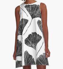 Ginkgo biloba, Lino cut nature inspired leaf pattern A-Line Dress
