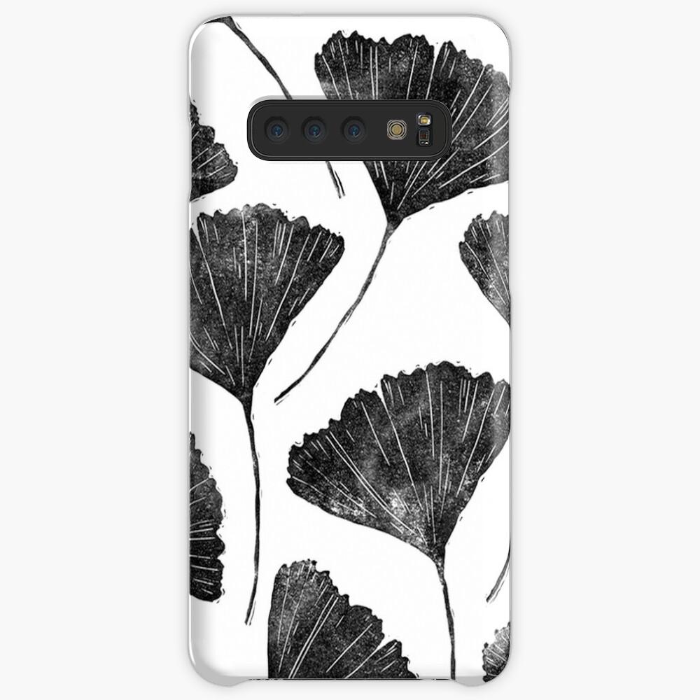 Ginkgo Biloba, Lino Schnitt Natur inspiriert Blattmuster Hülle & Klebefolie für Samsung Galaxy
