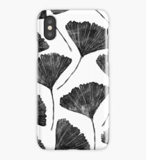 Ginkgo biloba, Lino cut nature inspired leaf pattern iPhone Case