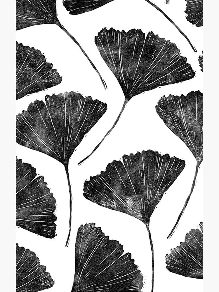 Ginkgo Biloba, Lino Schnitt Natur inspiriert Blattmuster von emporiumjulium
