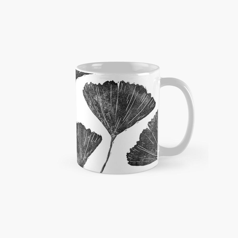 Ginkgo biloba, Lino cut nature inspired leaf pattern Mugs