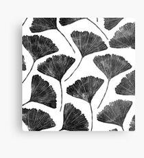 Ginkgo biloba, Lino cut nature inspired leaf pattern Metal Print