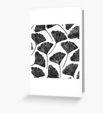 Ginkgo biloba, Lino cut nature inspired leaf pattern Greeting Card