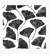 Ginkgo biloba, Lino cut nature inspired leaf pattern Photographic Print