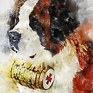 St Bernard Watercolor Portrait with a Sherry Keg on the Neck by ibadishi