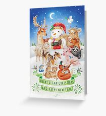 Merry vegan christmas by Maria Tiqwah Greeting Card