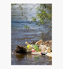 bottles damage river after flood Photographic Print